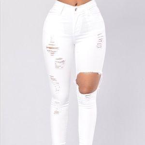 Fashion Nova High Waisted White Jeans